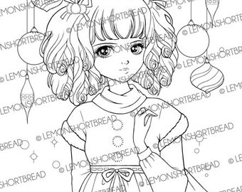 Digital Stamp Christmas Ornaments Girl, Digi Download, Winter Holiday Xmas, Coloring Page, Scrapbooking Supplies, Clip Art