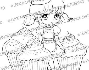 Digital Stamp Cupcakes Delight Girl, Digi Download, Baking, Cute Desserts Pastry Bakery, Birthday, Coloring Page, Graphic, Clip Art