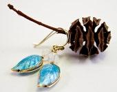 Sky Blue Leaf Earrings, Enamel, Free Shipping, Laura Mae Jewelry