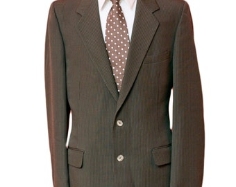 Men's Blazer / Vintage Brown Pinstripe Jacket / Size 42 Medium