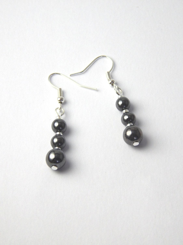 hematite earrings hematite drop earrings hematite bead