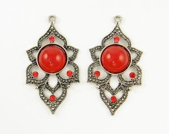Red Silver Earring Findings, Rust Silver Ornate Earring Dangles, Faux Carnelian Large Earring Drop, Marcasite Jewelry Finding |R3-1|2