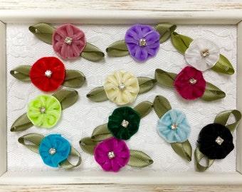 Set of 12pcs handmade velvet flower--mix colors (VT24)