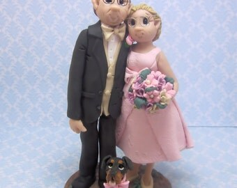 Older Bride and Groom with Pet Wedding Cake topper