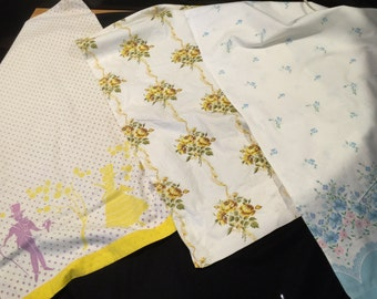 Trio of Vintage Single/Orphaned Cotton Print Pillowcases