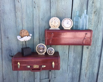 Pair of Wall Shelves Made from a SAMSONITE Medium Brown Suitcase Luggage Repurposed into Wall Shelves Shelf Travel Inspired