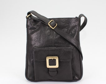 Black Leather Cross Body Messenger Bag, Leather Handbag, Leather Purse