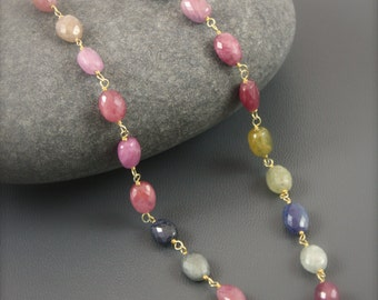 Natural Multicolor Sapphire Nugget Necklace by Yania Creations