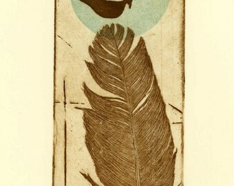 etching, Birds of a Feather II, feather, sepia, bird, turquoise, dot, circle, natural colors, printmaking, contemporary art,home interior