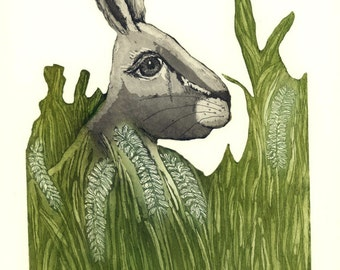 hare wall art, hare print, landscape art, nature art, wild animal print, green grass, sitting hare print, etching, printmaking, bunny