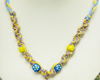 SALE Spring Colors and  Flowers  Hemp Necklace with Fimo Glass Mushroom handmade macrame jewelry    hippie