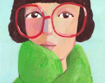 Portrait with glasses     Original Painting, wall decor