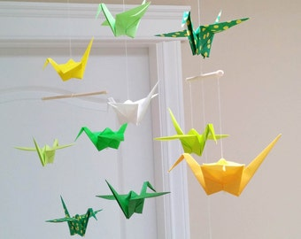 Yellow and Green Origami Crane Mobile