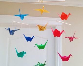 Origami Crane Mobile - Colourful Prints and Solid Papers - Nursery Mobile, Baby Mobile