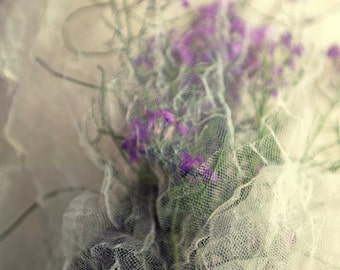 wildflowers netting, tulle wedding bouquet floral nature print home decor