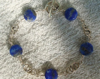 Lapis Stone Sterling Silver Wire Wrapped Link Bracelet