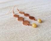 Handmade Jewelry Chime Yellow Golden Dangle Earrings Long Copper Earrings Handcrafted USA Bohemian Rustic Earthy Jewelry Fashion Accessories
