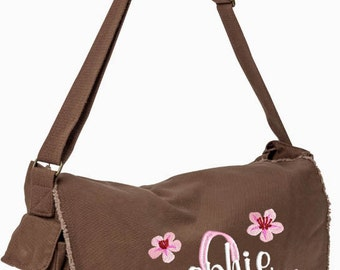 Girls Diaper Bag Personalized Black Brown Messenger Embroidered Raw Edge Large