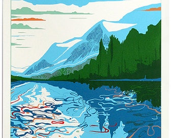 Screen print called Blue Lake. Limited edition hand made artwork. Trees - water - forest - landscape - clouds