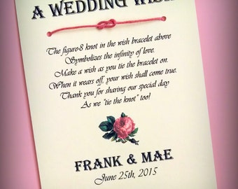 Vintage Rose - A Wedding Wish - Infinity Knot Wish Bracelet Wedding Favor Custom Made for You