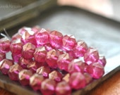 Last Listing - Pink Couture - Czech Glass, Fuchsia Pink, Metallic Gold Luster, English Cut Rounds 10mm - 6 Pc