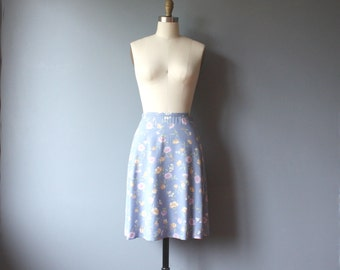 vintage 90s floral skirt, baby blue mini skirt / small