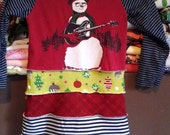 New Girls upcycled snowman winter dress size 5 6 long sleeve