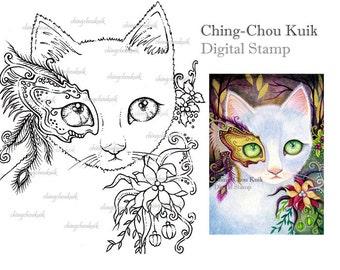 Christmas Venice Night - Digital Stamp Instant Download / Holiday Mask Cat Xmas Fantasy Art by Ching-Chou Kuik