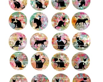 INSTANT DOWNLOAD - 1 Inch Circles  - No. 57 Cats -  Printable Digital Collage Sheet - Digital Download
