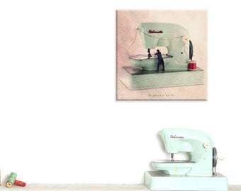 Wall Art Canvas, Photo Canvas Prints, Sewing machine photography, Mint green decor, Sewing machine print, Needle threader, Seamstress gift