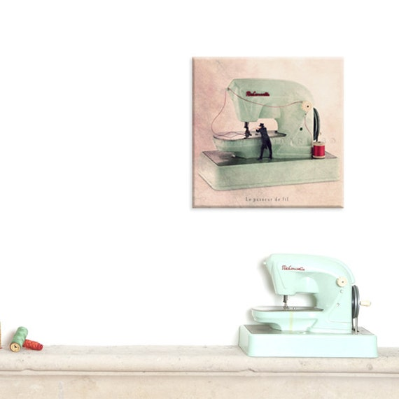 Wall art canvas photo canvas prints sewing machine - Wall decor photography ...