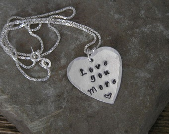 Love You More Metal Heart Necklace