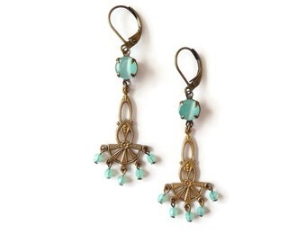 Art Nouveau Style Earrings - Opal Green Earrings - Golden Chandelier - Mint Green Earrings - Opal Glass - Vera Earrings (SD0934)