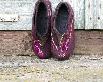 Handmade felted wool women slippers  Brown Purple with recycled sari silk