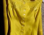 Vintage ANTIQUE Wool Camisole EDWARDIAN Corset Cover Vest Small Petite