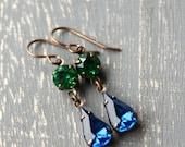 Take Me Out Earrings, Vintage Glass Jewel Earrings Sapphire Blue Emerald Green Dangle Earrings Blue and Green Viintage Earring Jewel Tone