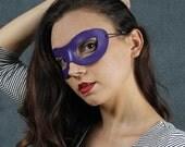 Incognito Leather mask in purple size S/M