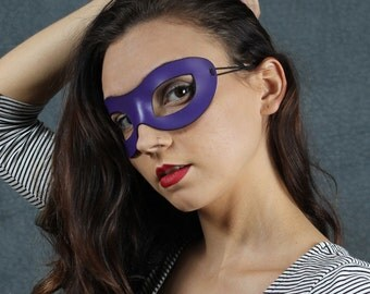 Incognito Leather mask in purple size S/M