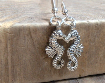 Seahorse dangle earrings Valentine gift for her silver plated charm beach Birthday party gift for her nautical jewellery