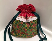 Lined Drawstring Bag, Large Pouch, Christmas, Patchwork, Gift Bag, Reusable, Holiday Reticule, Storage Bag, Abstract Print Fabric