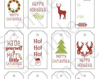 Printable Sheet of 12 Holiday Gift Tags - Christmas Gift Tags - Hang Tags