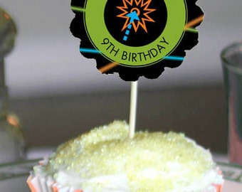 Laser Tag Cupcake Toppers, Boys Lazer Tag Party, Birthday Party Supplies