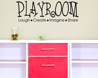 Playroom Wall Decal Quote Laugh Imagine Create Share Wall Decals Craft Room Decor Playroom Wall Stickers Create Decal Kids Modern Wall Decal