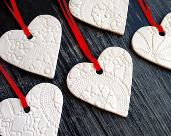 5 Christmas Decorations Red & White Ceramic Heart Holiday Tree Ornaments Handmade porcelain ornament Christmas decor Lace texture Large size