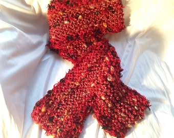 Red/Multicolored Hand Knit Scarf