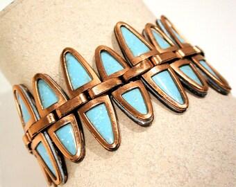 Vintage Matisse Bracelet Nefertiti Blue Enamel Copper Links 1950s Signed