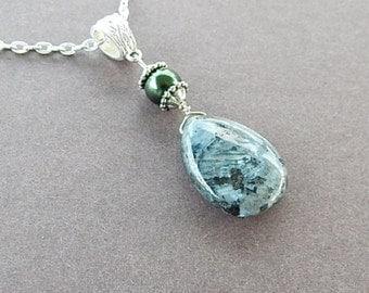 Labradorite Gemstone Teardrop Necklace Artisan Jewelry