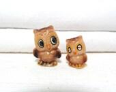 Vintage Owl Figurines . Home Decor . Woodland . Display
