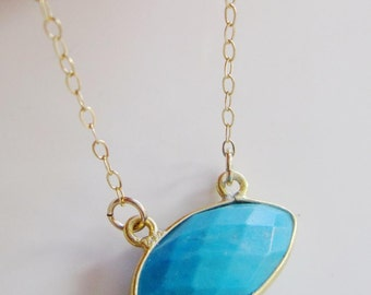 Oval Howlite Necklace, Layering Necklace, Gold Fill, Turquoise Magnesite Bezel bordered in Gold Vermeil