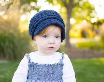 Toddler Newsboy Cap 1T to 2T Toddler Girl Newsboy Hat Toddler Boy Newsboy Toddler Girl Hat Toddler Boy Hat Navy Blue Toddler Hat with Buckle